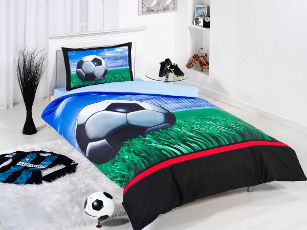 Class Home Collection Renforcé Bettwäsche Fußball 2tlg. 135x200cm + 80x80cm