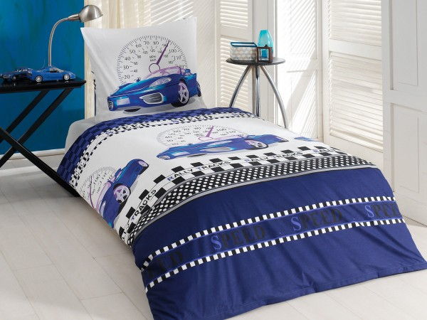 Class Home Collection Renforcé Bettwäsche Auto blau 2tlg. 135x200cm + 80x80cm